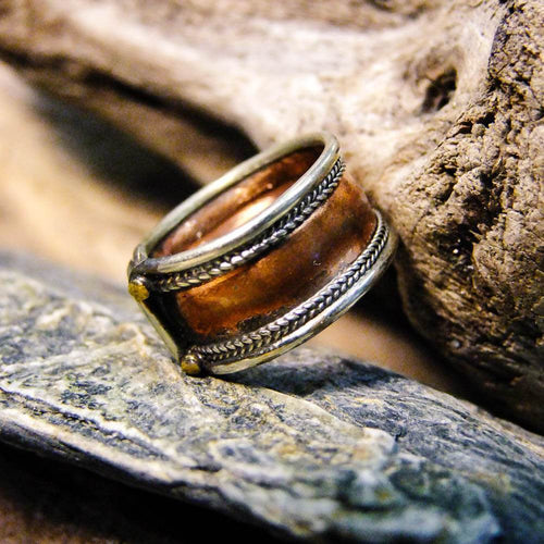 Chunky Brass Copper Ring-JEWELLERY / RINGS-(IND)-Marbelled-The Outpost NZ