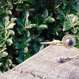 Circle Stone Brass Bangle-JEWELLERY / BANGLE-Gopal Brass Man (IND)-Lapis Lazuli-The Outpost NZ