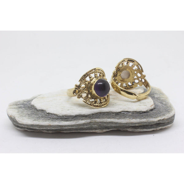 Circle Stone Brass Ring-RINGS-Not specified-Amethyst-The Outpost NZ
