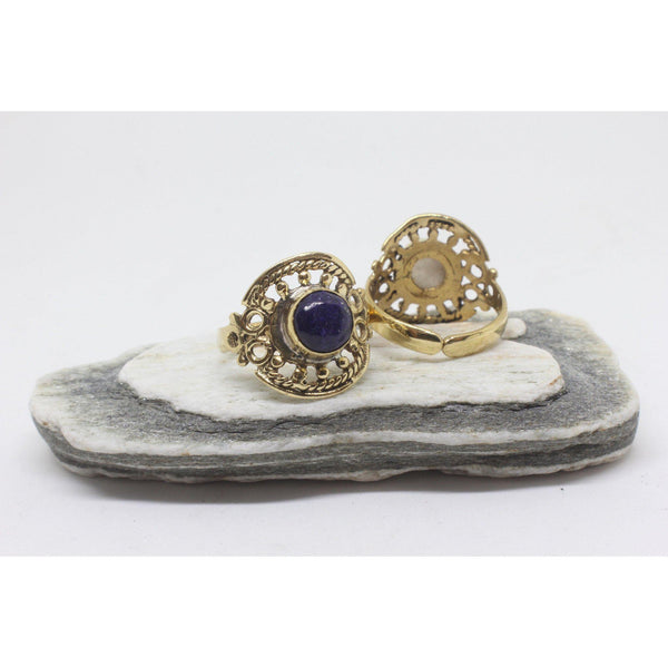Circle Stone Brass Ring-RINGS-Not specified-Lapis Lazuli-The Outpost NZ
