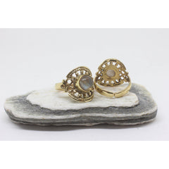 Circle Stone Brass Ring-RINGS-Not specified-Moonstone-The Outpost NZ