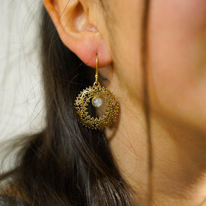 Circle Swirls Stone Earrings-JEWELLERY / EARRINGS-Gopal Brass Man (IND)-Brass-Moonstone-The Outpost NZ