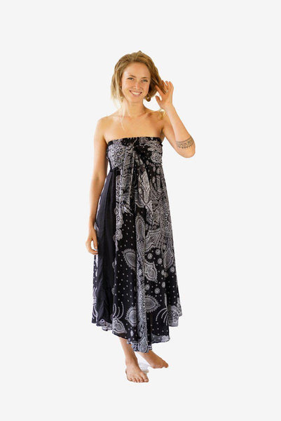 Coconut Skirt Dress-CLOTHING / SKIRT-Champagne2 (THA)-Sumatra-Black-The Outpost NZ