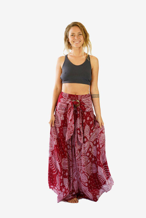 Coconut Skirt Dress-CLOTHING / SKIRT-Champagne2 (THA)-Sumatra-Maroon-The Outpost NZ