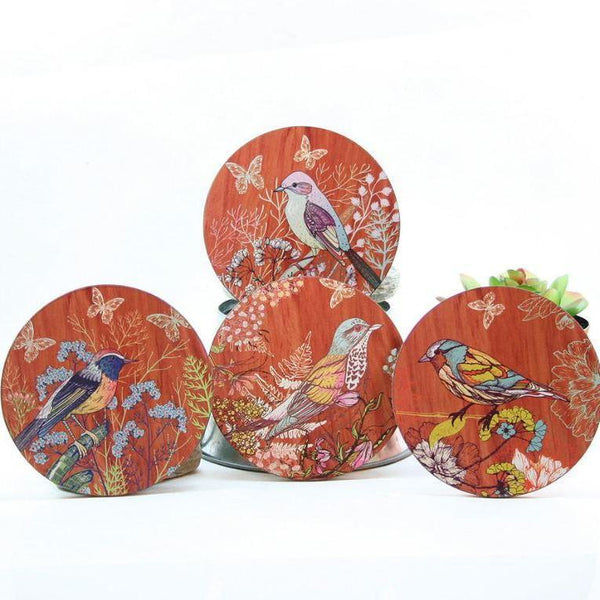 Colourful Bird Round Coasters-NZ HOMEWARES-Crystal Ashley (NZ)-The Outpost NZ