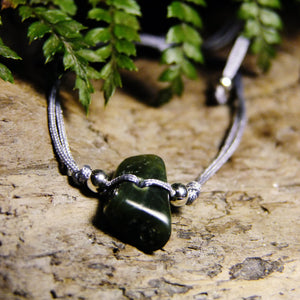 Corded Greenstone Bracelet-JEWELLERY / BRACELET-1000 Design (THA)-Grey-The Outpost NZ