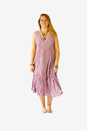 Cotton Country Dress-CLOTHING / DRESS-Faisamdin (THA)-Lavender-The Outpost NZ