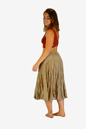 Cotton Frill Skirt-CLOTHING / SKIRT-Faisamdin (THA)-Beige-The Outpost NZ