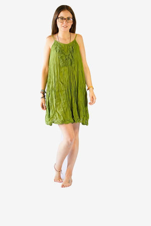 Cotton Lace Spagetti Dress-CLOTHING / DRESS-Faisamdin (THA)-Light Green-The Outpost NZ