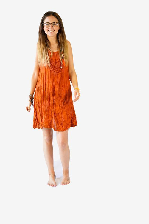 Cotton Lace Spagetti Dress-CLOTHING / DRESS-Faisamdin (THA)-Orange-The Outpost NZ