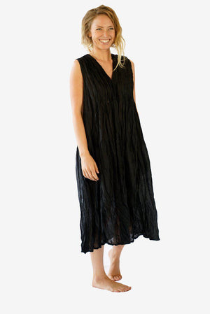 Cotton Pencil Pleated Front Dress-CLOTHING / DRESS-Faisamdin (THA)-Black-The Outpost NZ