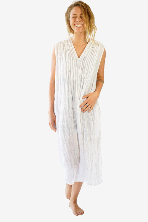 Cotton Pencil Pleated Front Dress-CLOTHING / DRESS-Faisamdin (THA)-White-The Outpost NZ