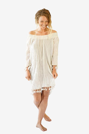 Cotton Smock Tassel Dress-CLOTHING / DRESS-Faisamdin (THA)-Cream-The Outpost NZ