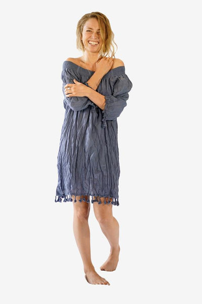 Cotton Smock Tassel Dress-CLOTHING / DRESS-Faisamdin (THA)-Dark Grey-The Outpost NZ
