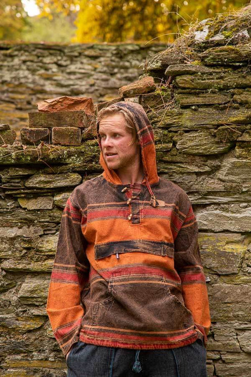 Cotton Stonewash Hoody-CLOTHING / OUTERWEAR-The Look Fashion (NEP)-Pumpkin Spice Stripe-M-The Outpost NZ[Mens]