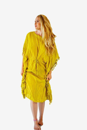 Cotton Tassel Kaftan-CLOTHING / TOPS-Faisamdin (THA)-Yellow-The Outpost NZ