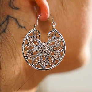 Crescent Flower Hoop Earrings-JEWELLERY / EARRINGS-Gopal Brass Man (IND)-Brass-The Outpost NZ