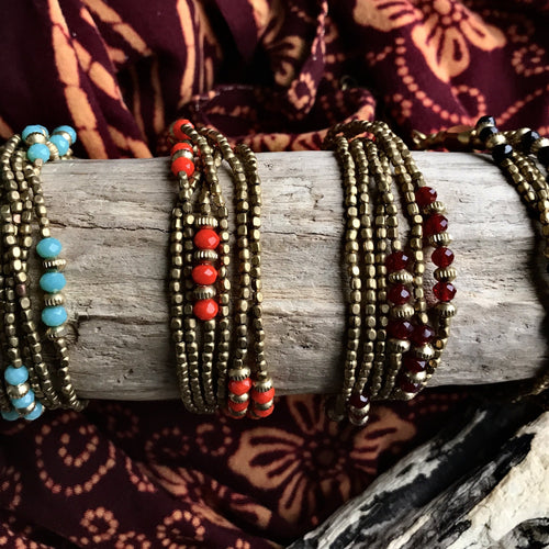 Crystal Bead Multi Strand Bracelet-JEWELLERY / BRACELET-OM Fashion (IND)-Red-The Outpost NZ