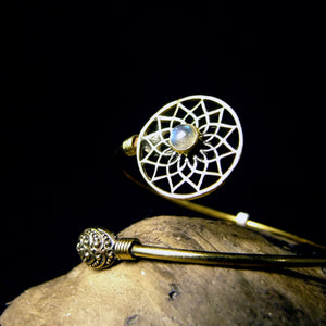Cut Flower Stone Brass Bangle-JEWELLERY / BANGLE-Gopal Brass Man (IND)-Moonstone-The Outpost NZ
