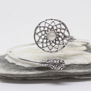 Cut Flower Stone Silver Plated Bangle-JEWELLERY / BANGLE-Gopal Brass Man (IND)-Moonstone-The Outpost NZ