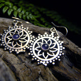 Dao Silver Plated Earrings-JEWELLERY / EARRINGS-Gopal Brass Man (IND)-Amethyst-The Outpost NZ
