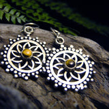 Dao Silver Plated Earrings-JEWELLERY / EARRINGS-Gopal Brass Man (IND)-Tigers Eye-The Outpost NZ