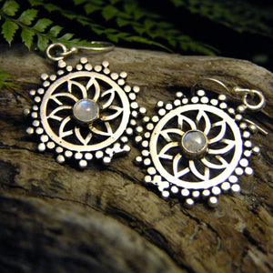 Dao Silver Plated Earrings-JEWELLERY / EARRINGS-Gopal Brass Man (IND)-Moonstone-The Outpost NZ