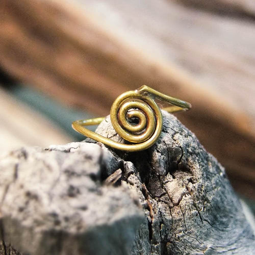 Decha Swirl Brass Ring-RINGS-Not specified-The Outpost NZ