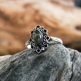 Dewdrop Ring-JEWELLERY / RINGS-Gopal Brass Man (IND)-Silver Plated-Labrodorite-The Outpost NZ