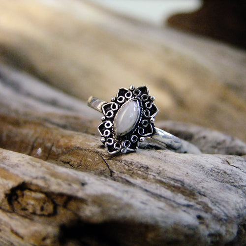Dewdrop Ring-JEWELLERY / RINGS-Gopal Brass Man (IND)-Silver Plated-Moonstone-The Outpost NZ