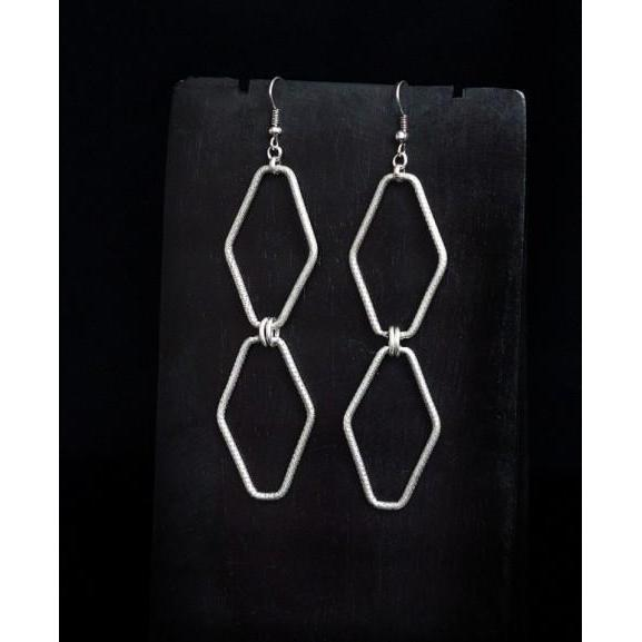 Diamond Links Earrings-NZ JEWELLERY-Jewella (NZ)-The Outpost NZ
