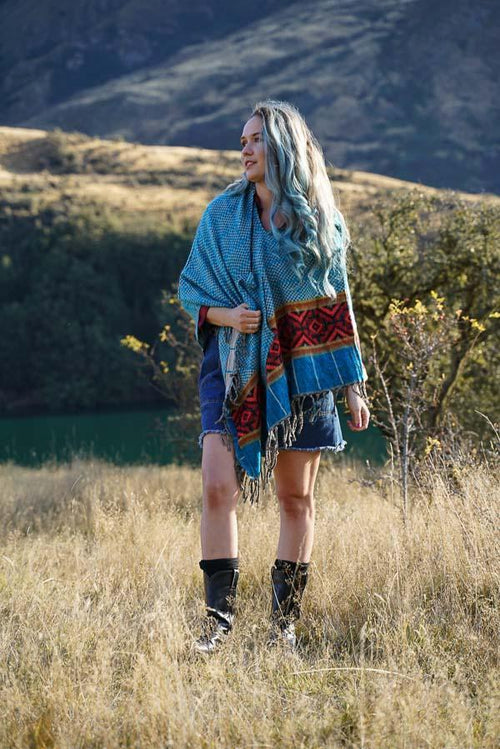 Diamond Poncho-CLOTHING / PONCHO-ASBA Exports (IND) discontinue-Teal-Mandala-The Outpost NZ