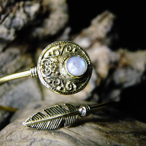 Disk Stone Brass Bangle-JEWELLERY / BANGLE-Gopal Brass Man (IND)-Moonstone-The Outpost NZ