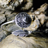 Disk Stone Silver Plated Bangle-JEWELLERY / BANGLE-Gopal Brass Man (IND)-Labradorite-The Outpost NZ