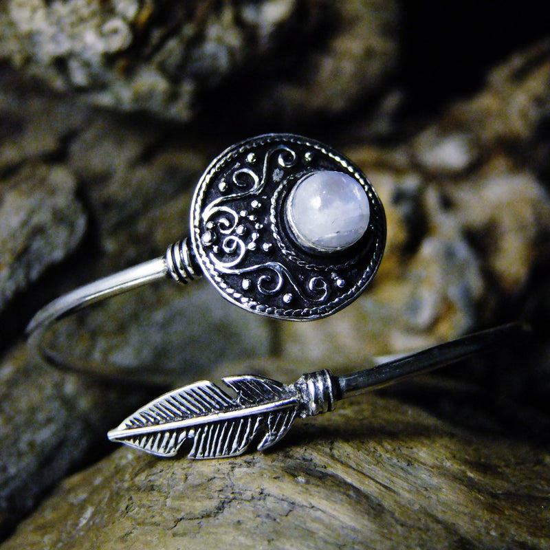Disk Stone Silver Plated Bangle-JEWELLERY / BANGLE-Gopal Brass Man (IND)-Moonstone-The Outpost NZ