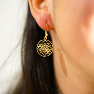 Dodecahedron Earrings-JEWELLERY / EARRINGS-Gopal Brass Man (IND)-Brass-The Outpost NZ