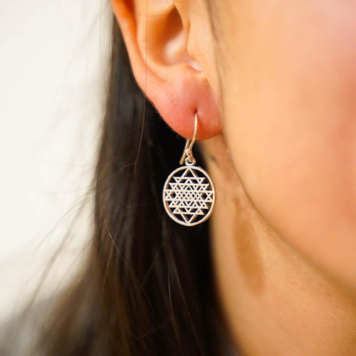 Dodecahedron Earrings-JEWELLERY / EARRINGS-Gopal Brass Man (IND)-Silver Plated Brass-The Outpost NZ