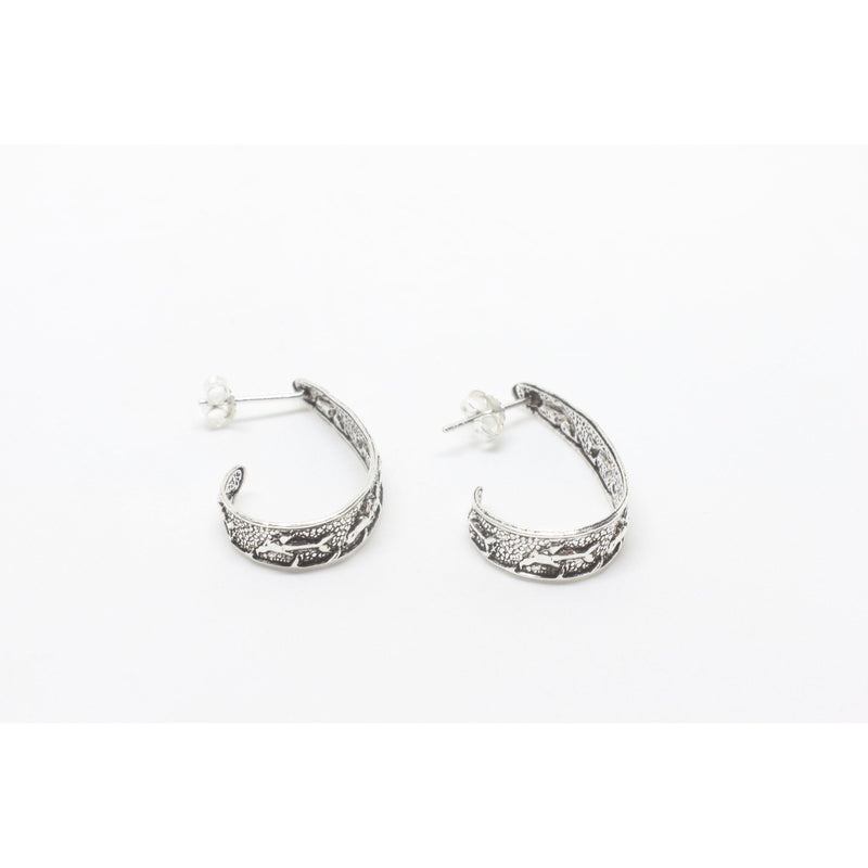 Dolphin J Sterling Silver Earrings-JEWELLERY / EARRINGS-Silver Lion (THA)-The Outpost NZ