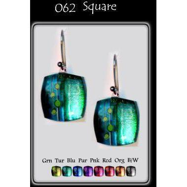 Dots Foil Square-NZ JEWELLERY-TracyH (NZ)-Green-Earring-The Outpost NZ