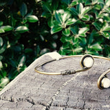 Double Circle Stone Brass Bangle-JEWELLERY / BANGLE-Not specified-Moonstone-The Outpost NZ