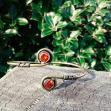 Double Circle Stone Brass Bangle-JEWELLERY / BANGLE-Not specified-Ruby-The Outpost NZ