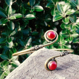 Double Circle Stone Brass Bangle-JEWELLERY / BANGLE-Not specified-Red-The Outpost NZ