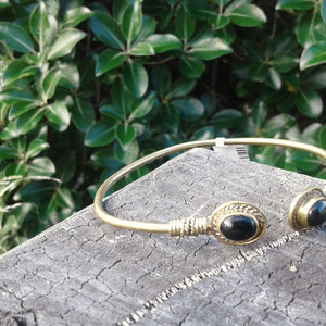 Double Stone Oval Brass Bangle-JEWELLERY / BANGLE-Not specified-Black-The Outpost NZ