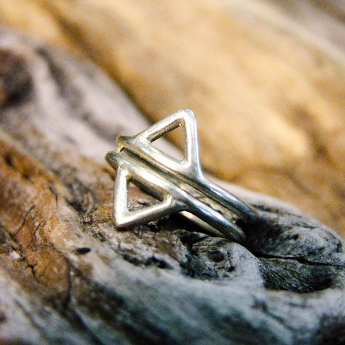 Double Triangle Silver Plated Ring-JEWELLERY / RINGS-Gopal Brass Man (IND)-The Outpost NZ