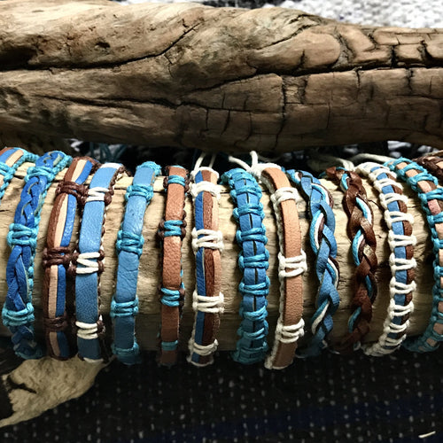 Earth Handwoven Macrame Bracelet-JEWELLERY / BRACELET-Wattanaporn (THA)-Blue/Brown/Cream-The Outpost NZ