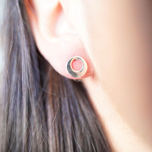Eclipse Silver Stud Earrings-JEWELLERY / EARRINGS-Mimi Silver (THA)-The Outpost NZ