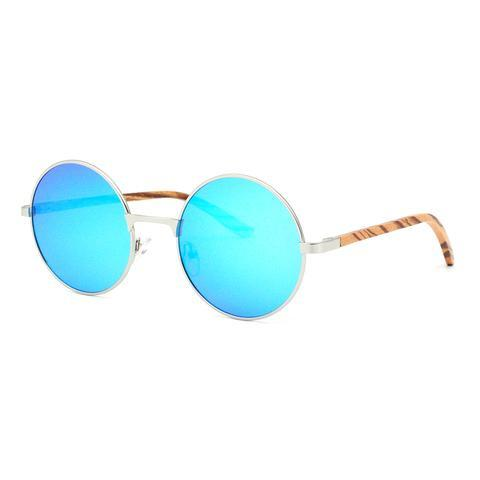 Edievale Sunnies (P)-ACCESSORIES / SUNGLASSES-Lonsy Eyewear International Co.Ltd (CHI)-Metal, Bamboo, Blue Lense-The Outpost NZ