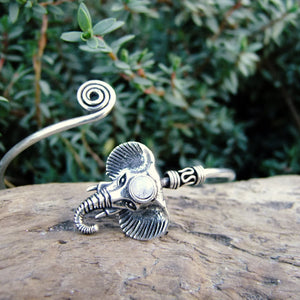 Elephant Silver Plated Bangle-JEWELLERY / BANGLE-Gopal Brass Man (IND)-Moonstone-The Outpost NZ