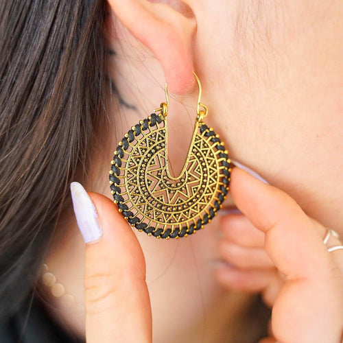 Embroidered Drop Earrings-JEWELLERY / EARRINGS-Jeab and Ru (THA)-Crescent Moon-Black-The Outpost NZ