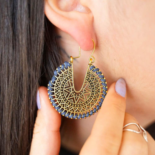 Embroidered Drop Earrings-JEWELLERY / EARRINGS-Jeab and Ru (THA)-Crescent Moon-Teal-The Outpost NZ